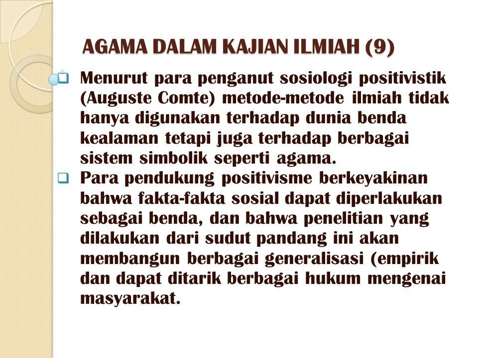 AGAMA DALAM KAJIAN ILMIAH (9)