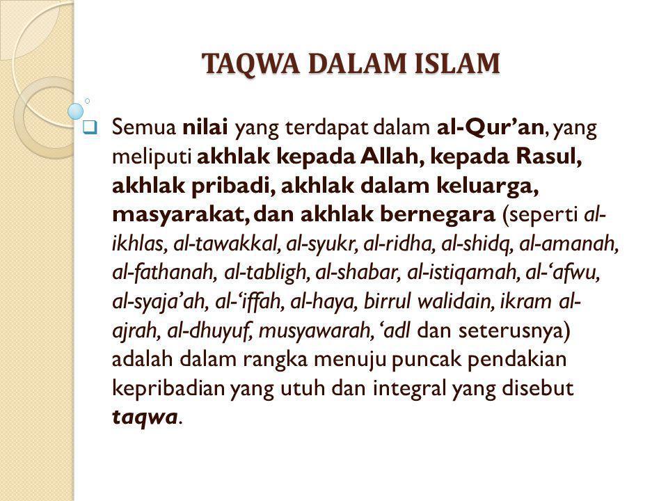 TAQWA DALAM ISLAM