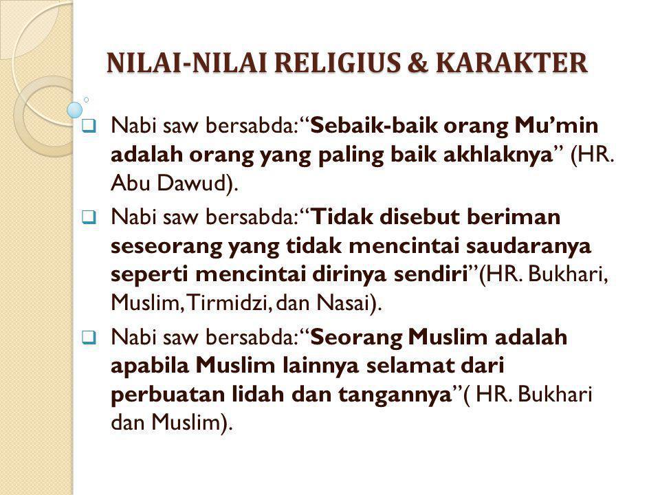 NILAI-NILAI RELIGIUS & KARAKTER