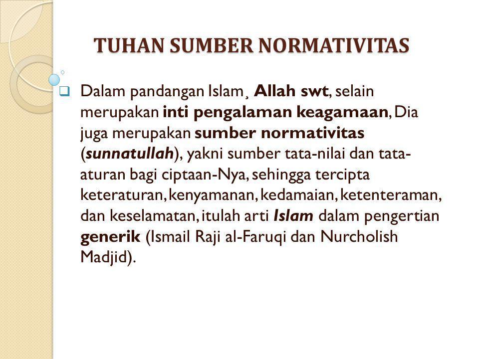 TUHAN SUMBER NORMATIVITAS