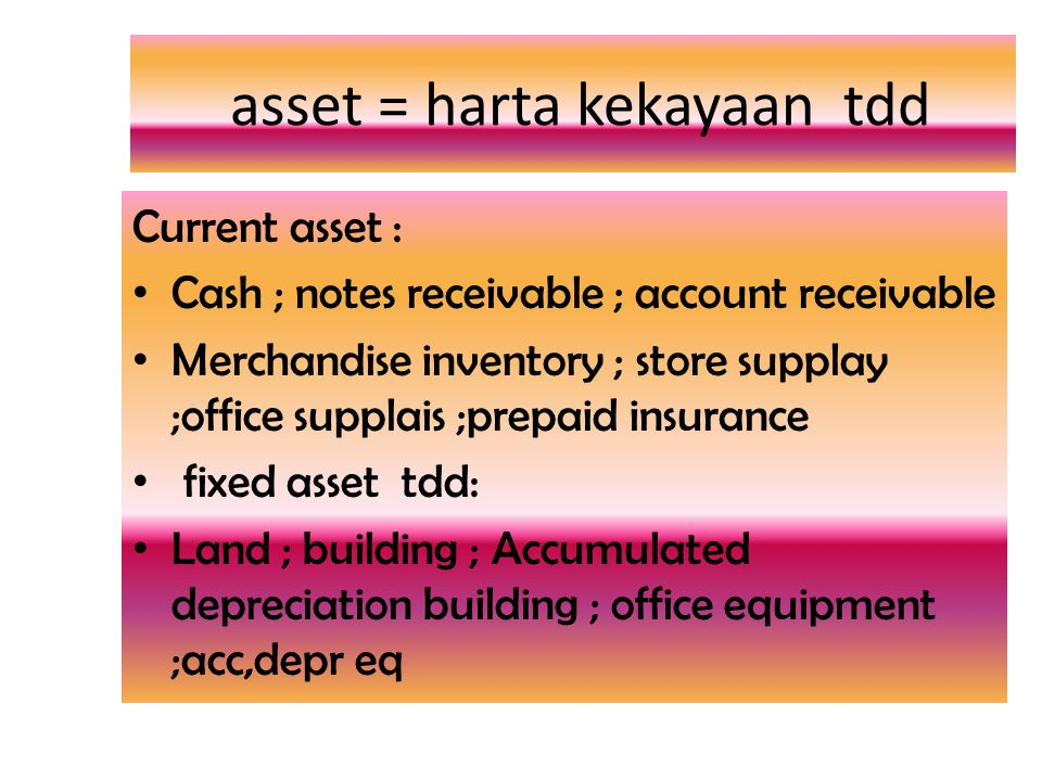 asset = harta kekayaan tdd