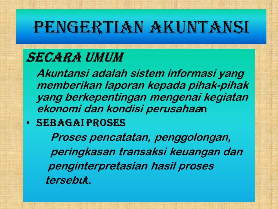 Pengertian Akuntansi Secara umum