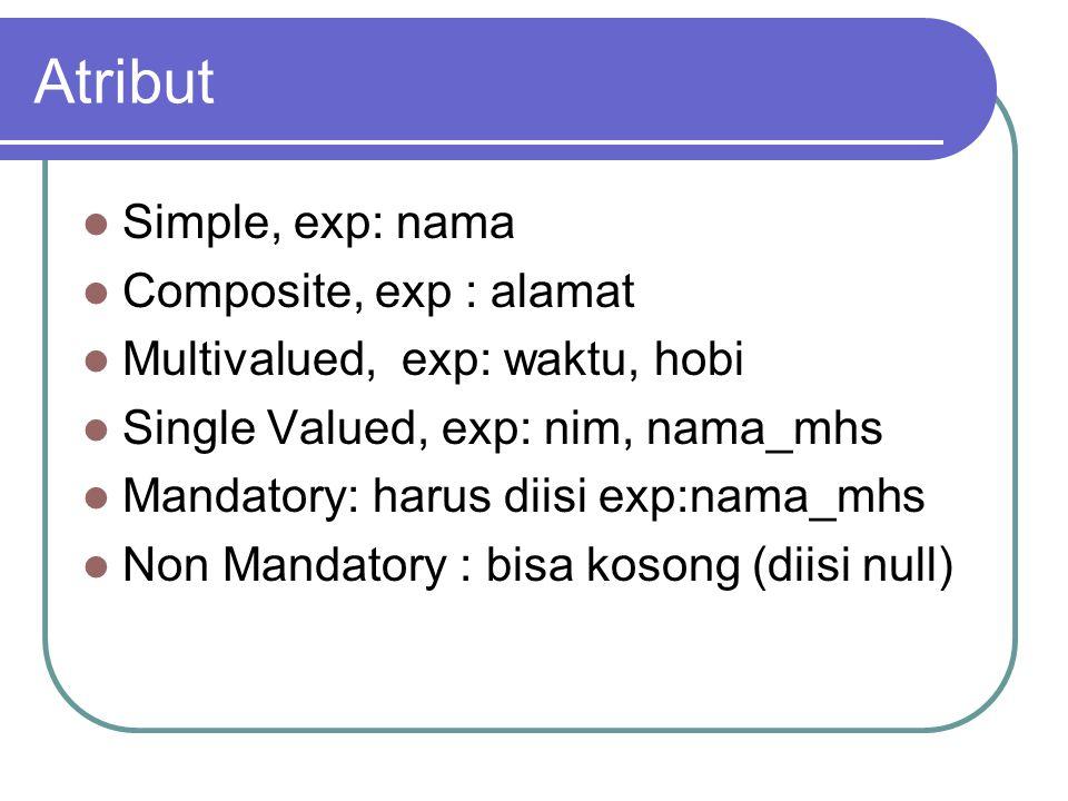 Atribut Simple, exp: nama Composite, exp : alamat