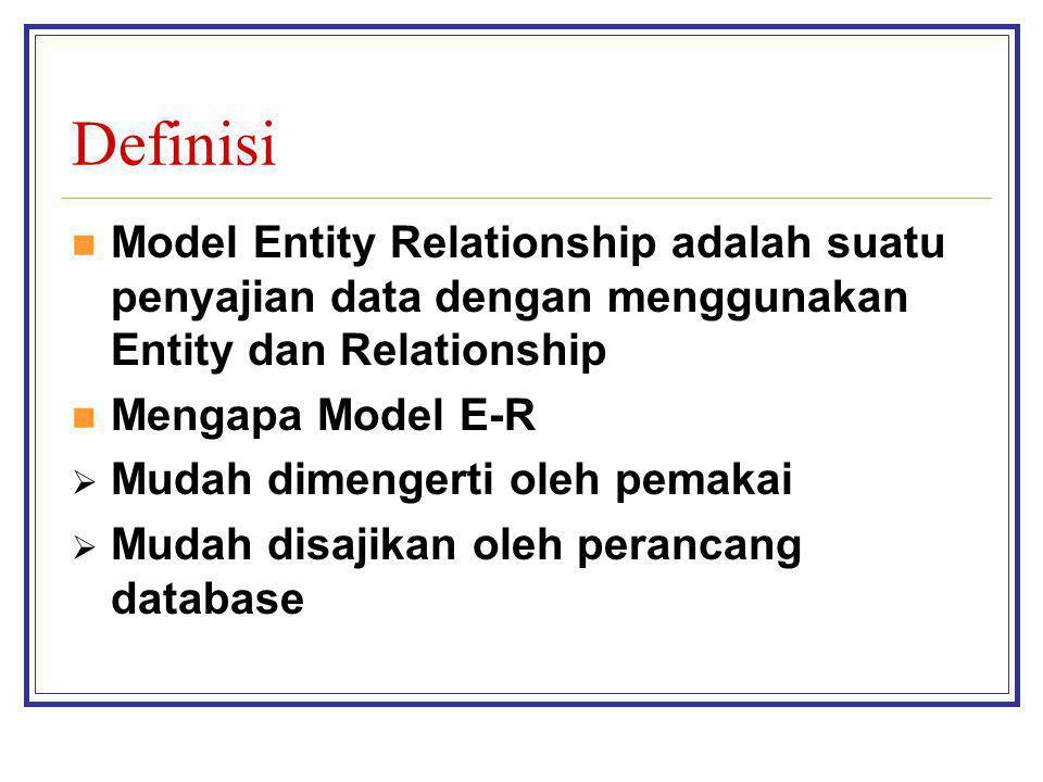 Definisi Model Entity Relationship adalah suatu penyajian data dengan menggunakan Entity dan Relationship.