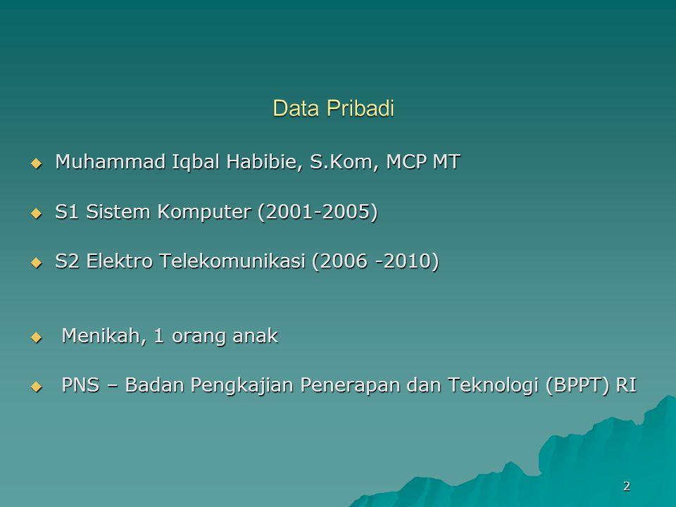 Data Pribadi Muhammad Iqbal Habibie, S.Kom, MCP MT