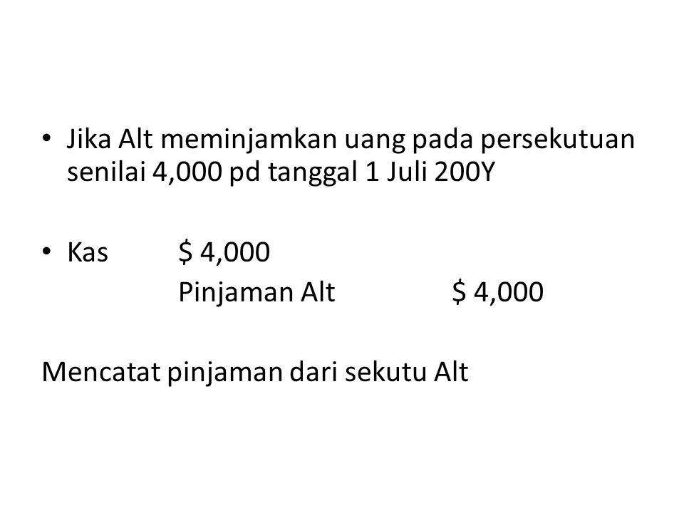 Jika Alt meminjamkan uang pada persekutuan senilai 4,000 pd tanggal 1 Juli 200Y