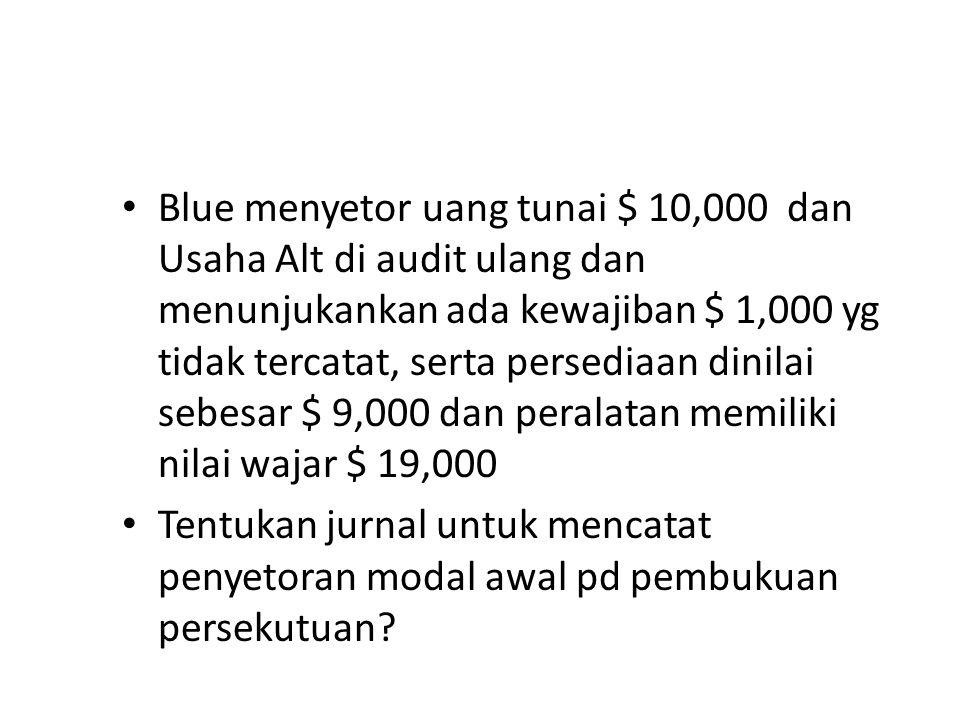Blue menyetor uang tunai $ 10,000 dan Usaha Alt di audit ulang dan menunjukankan ada kewajiban $ 1,000 yg tidak tercatat, serta persediaan dinilai sebesar $ 9,000 dan peralatan memiliki nilai wajar $ 19,000