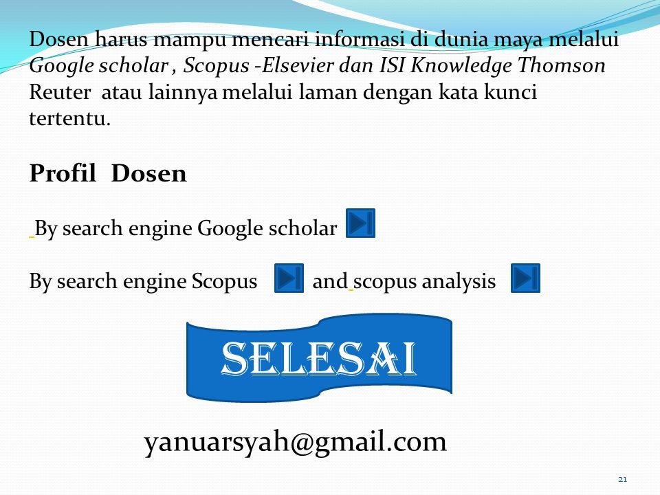 selesai yanuarsyah@gmail.com Profil Dosen