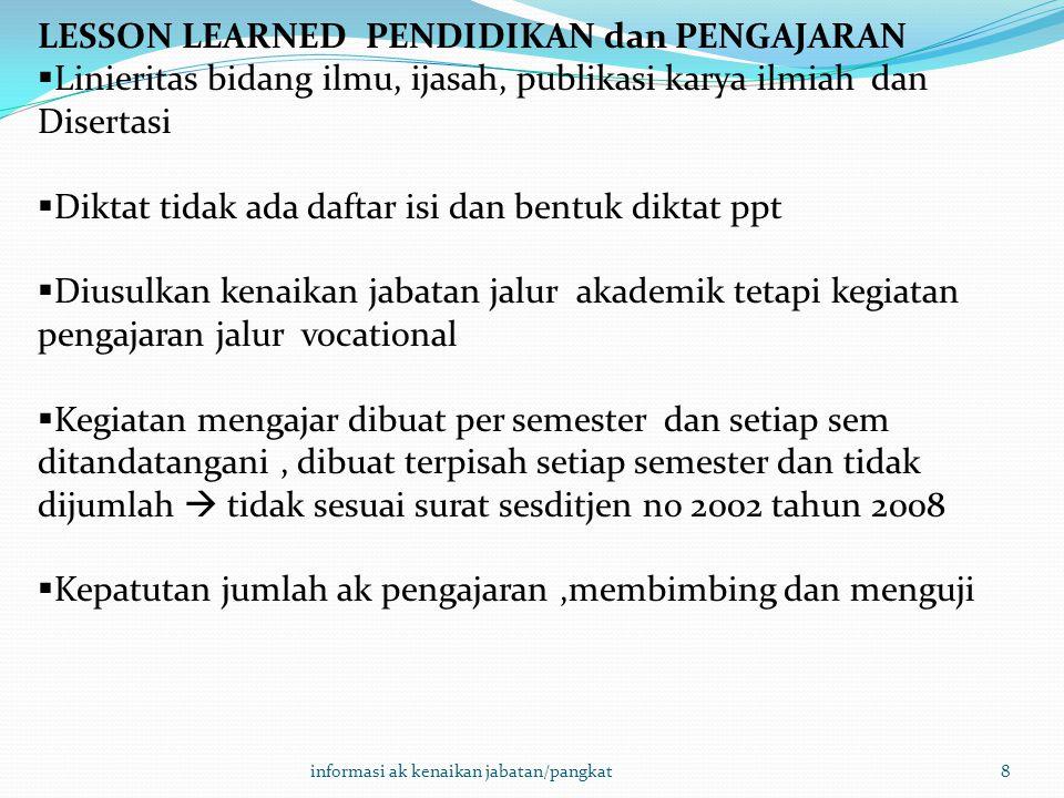 LESSON LEARNED PENDIDIKAN dan PENGAJARAN