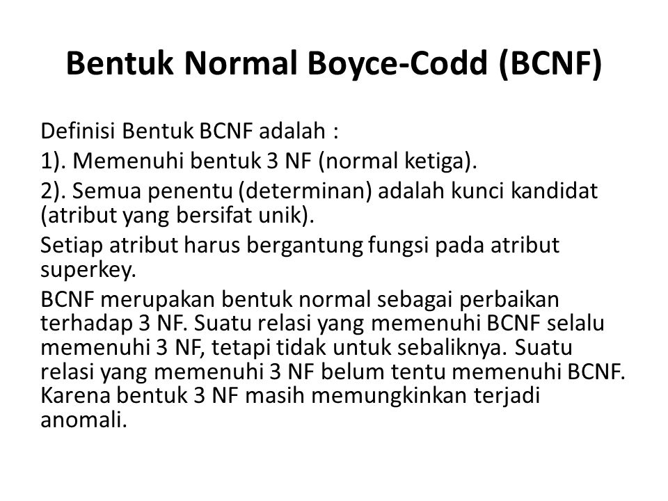 Bentuk Normal Boyce-Codd (BCNF)