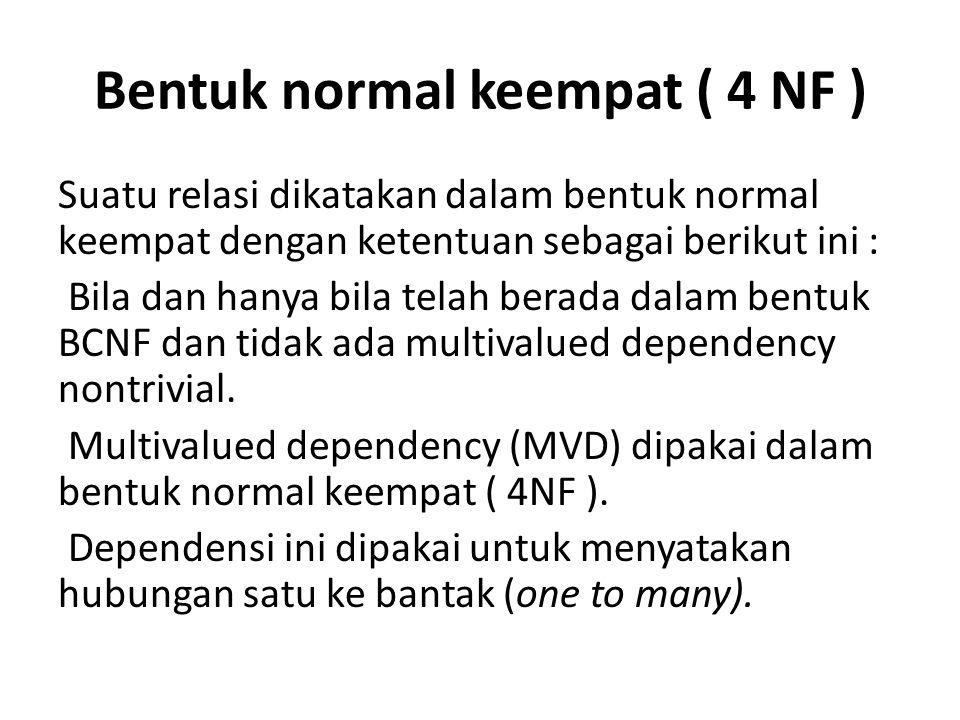 Bentuk normal keempat ( 4 NF )