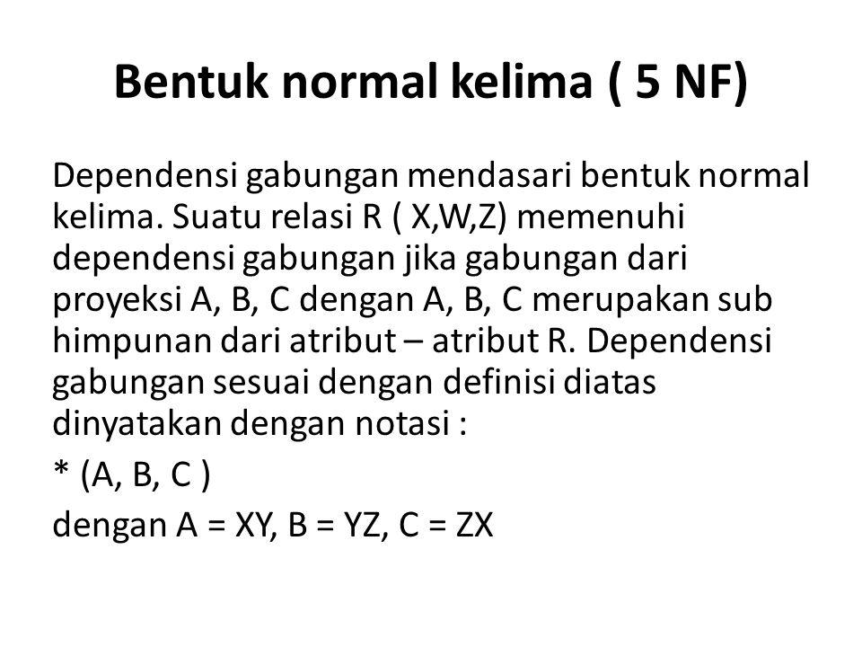 Bentuk normal kelima ( 5 NF)