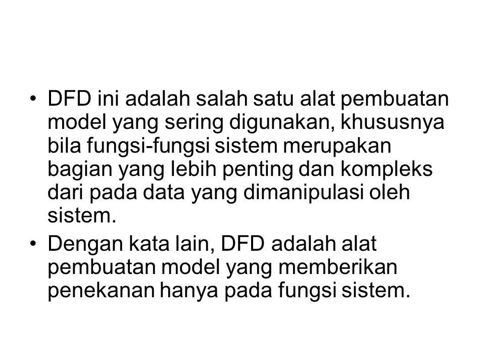 DFD ini adalah salah satu alat pembuatan model yang sering digunakan, khususnya bila fungsi-fungsi sistem merupakan bagian yang lebih penting dan kompleks dari pada data yang dimanipulasi oleh sistem.