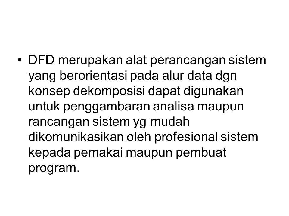 DFD merupakan alat perancangan sistem yang berorientasi pada alur data dgn konsep dekomposisi dapat digunakan untuk penggambaran analisa maupun rancangan sistem yg mudah dikomunikasikan oleh profesional sistem kepada pemakai maupun pembuat program.