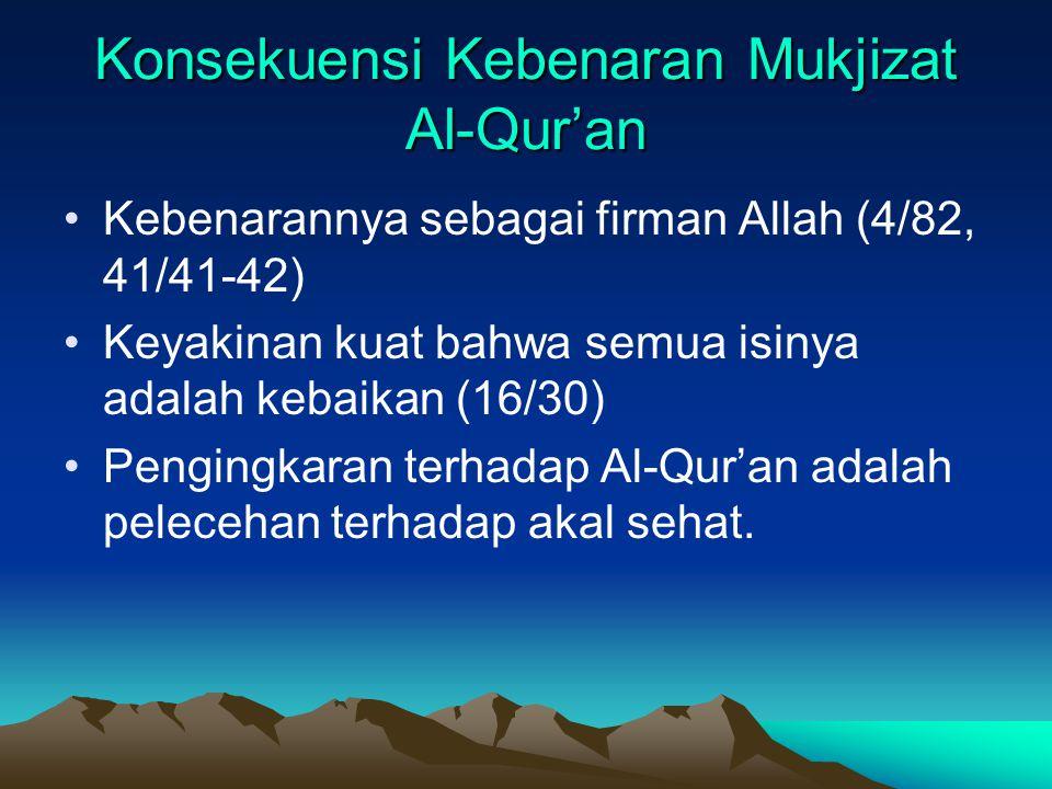 Konsekuensi Kebenaran Mukjizat Al-Qur'an