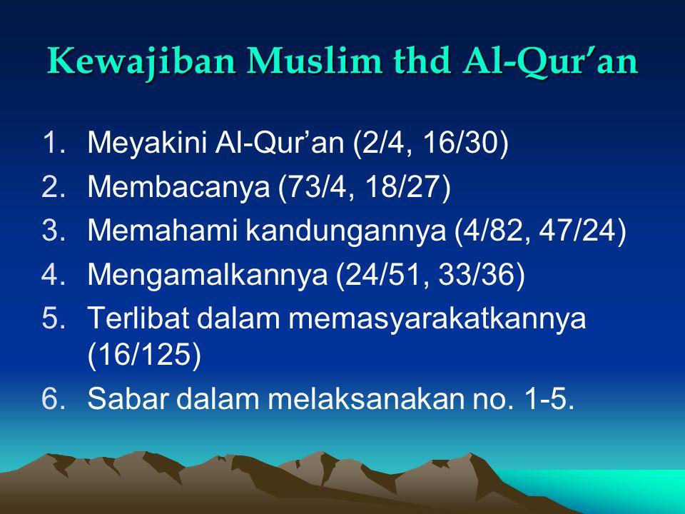 Kewajiban Muslim thd Al-Qur'an