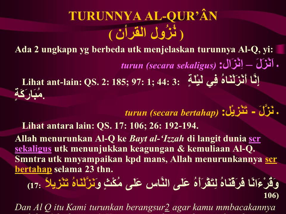 TURUNNYA AL-QUR'ÂN ( نُزُول القرأن)