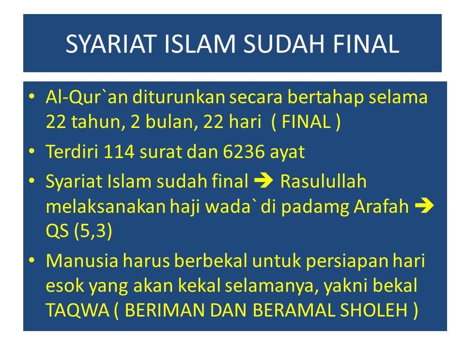 SYARIAT ISLAM SUDAH FINAL