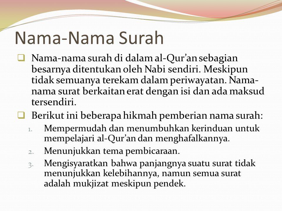 Nama-Nama Surah