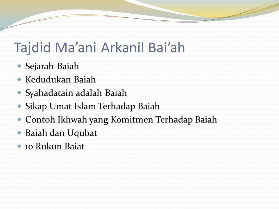 Tajdid Ma'ani Arkanil Bai'ah
