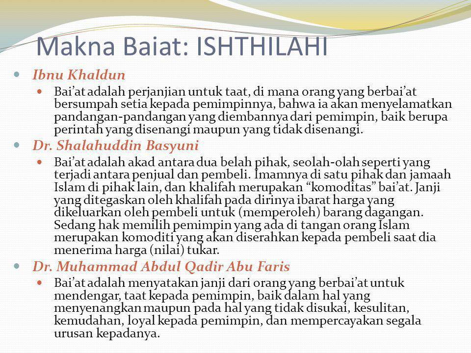 Makna Baiat: ISHTHILAHI