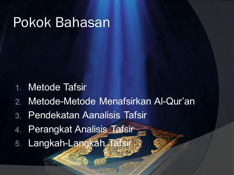 Pokok Bahasan Metode Tafsir Metode-Metode Menafsirkan Al-Qur'an