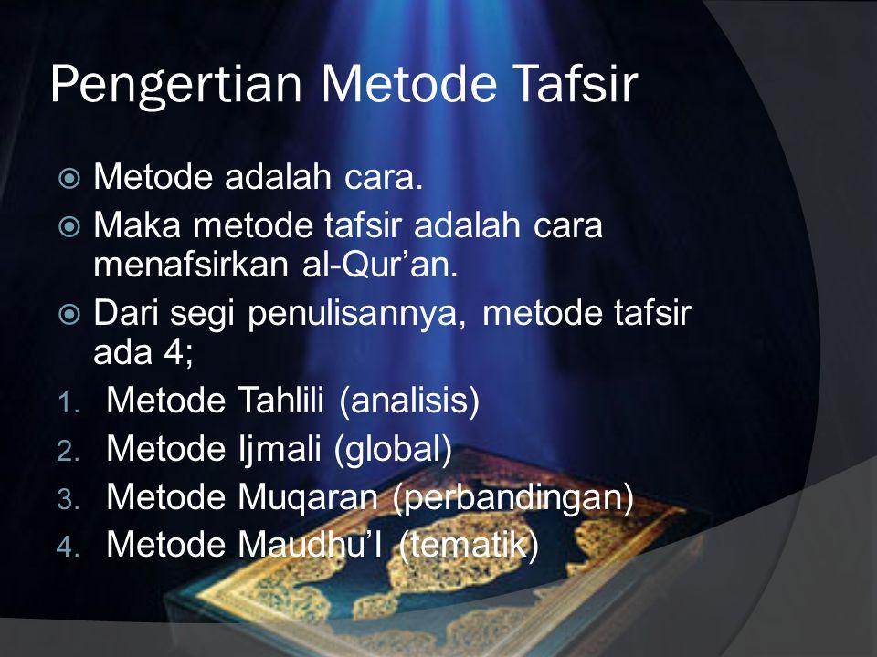 Pengertian Metode Tafsir