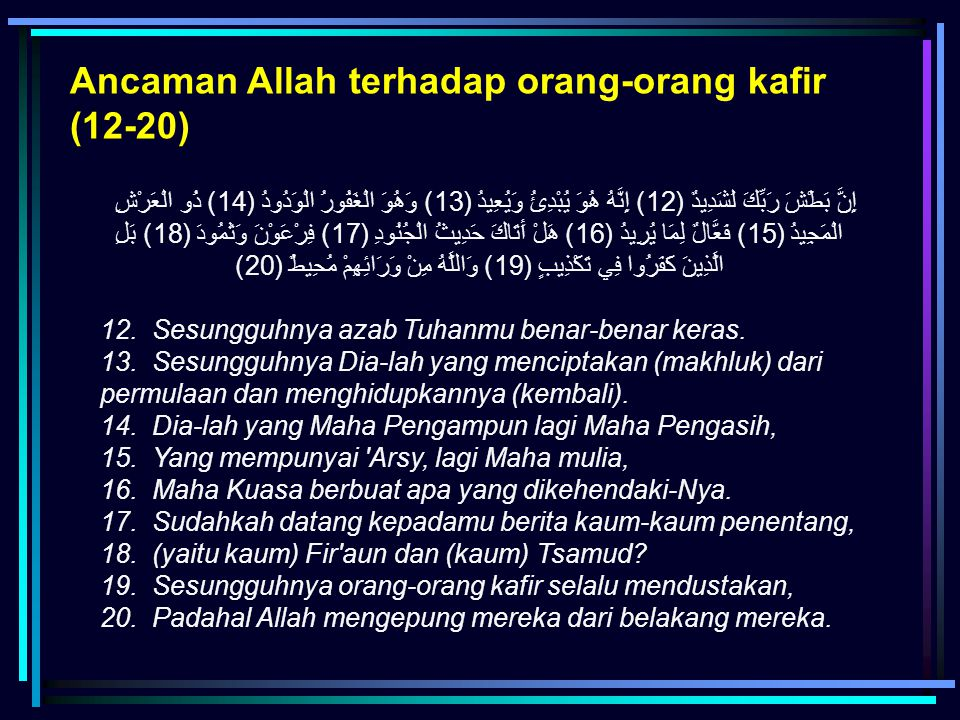 Ancaman Allah terhadap orang-orang kafir (12-20)