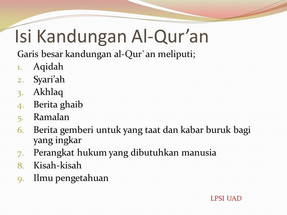Isi Kandungan Al-Qur'an