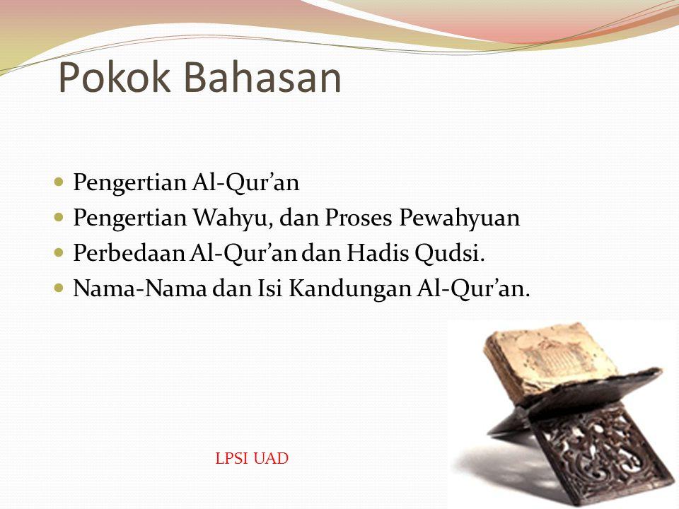 Pokok Bahasan Pengertian Al-Qur'an