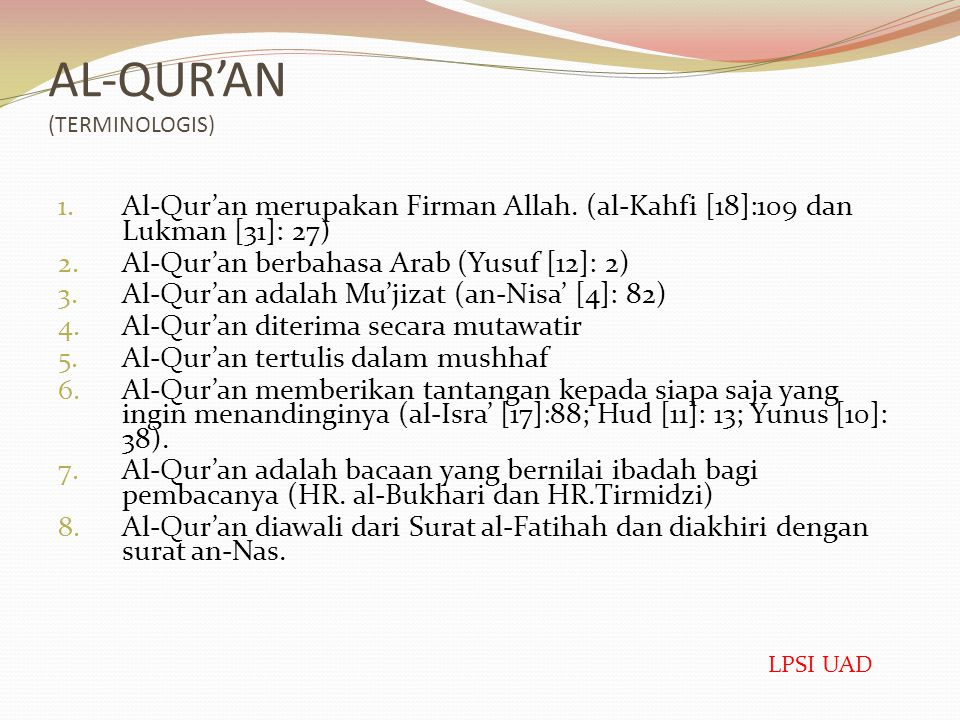AL-QUR'AN (TERMINOLOGIS)