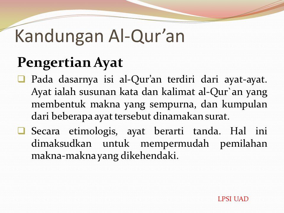 Kandungan Al-Qur'an Pengertian Ayat