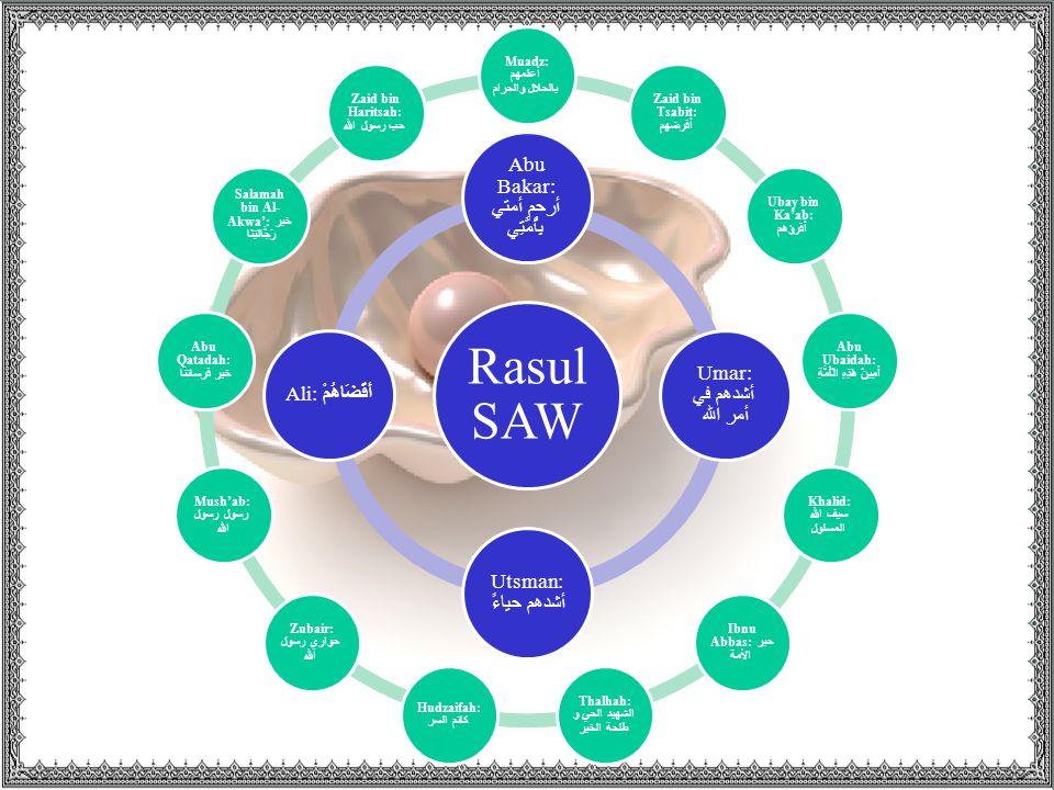 Rasul SAW Abu Bakar: أرحم أمتي بِأُمَّتِي Umar: أشدهم في أمر الله