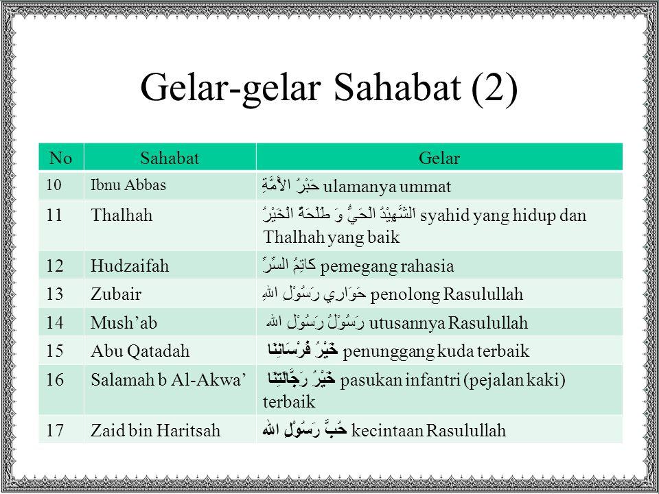 Gelar-gelar Sahabat (2)