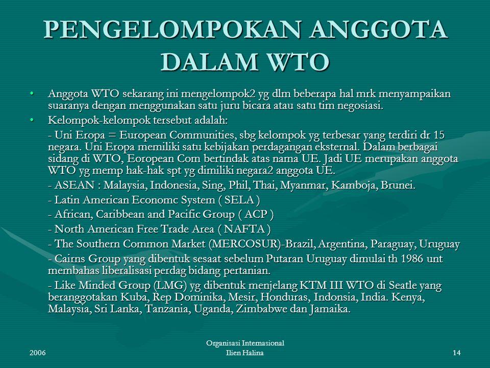PENGELOMPOKAN ANGGOTA DALAM WTO