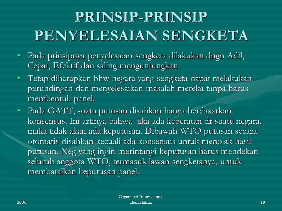 PRINSIP-PRINSIP PENYELESAIAN SENGKETA