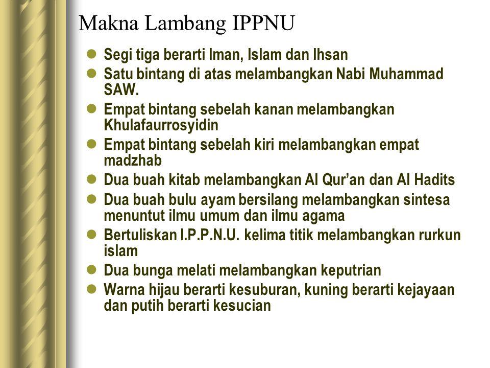 Makna Lambang IPPNU Segi tiga berarti Iman, Islam dan Ihsan