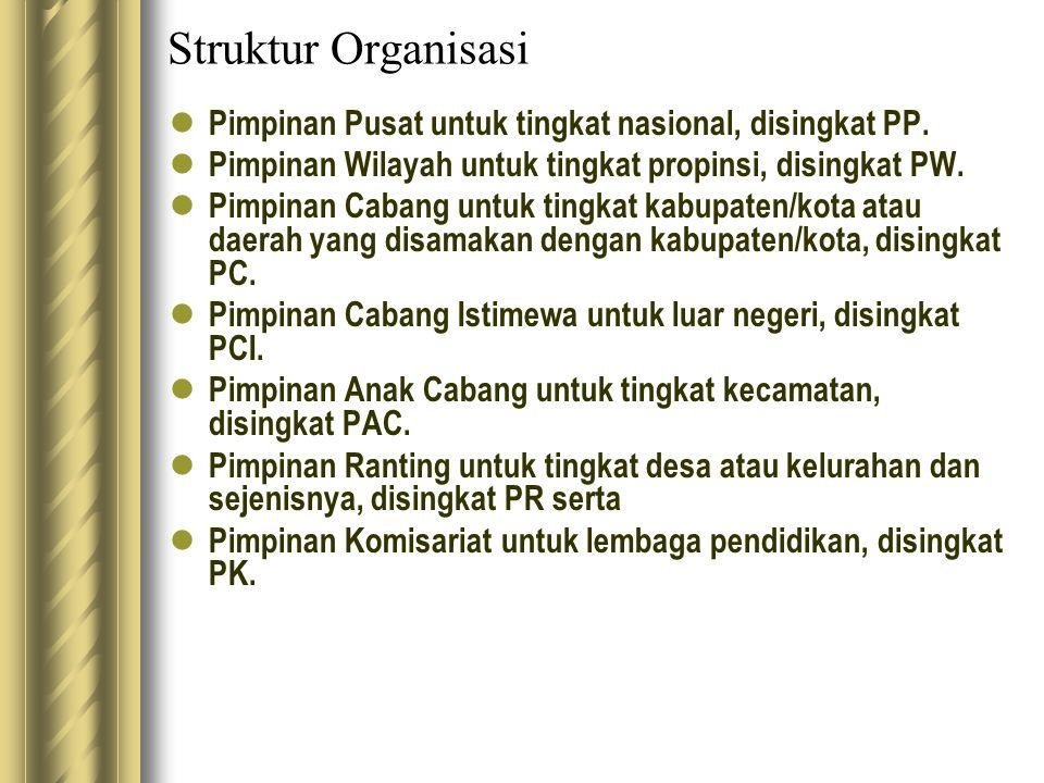 Struktur Organisasi Pimpinan Pusat untuk tingkat nasional, disingkat PP. Pimpinan Wilayah untuk tingkat propinsi, disingkat PW.