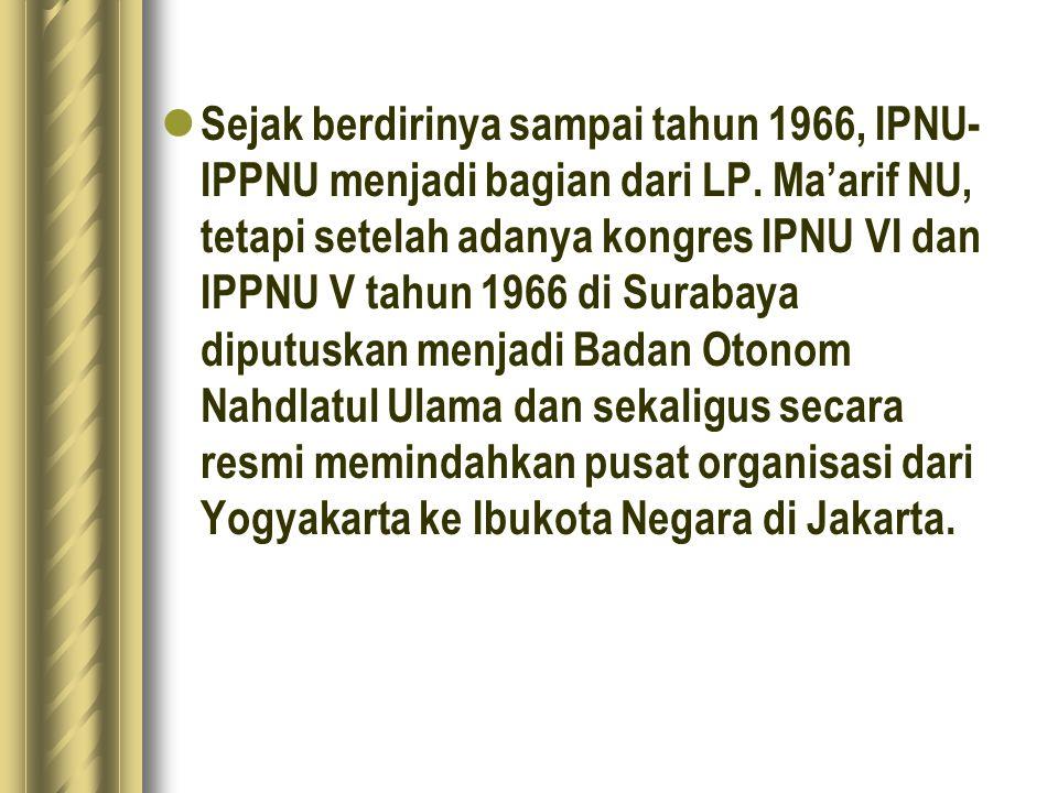 Sejak berdirinya sampai tahun 1966, IPNU-IPPNU menjadi bagian dari LP