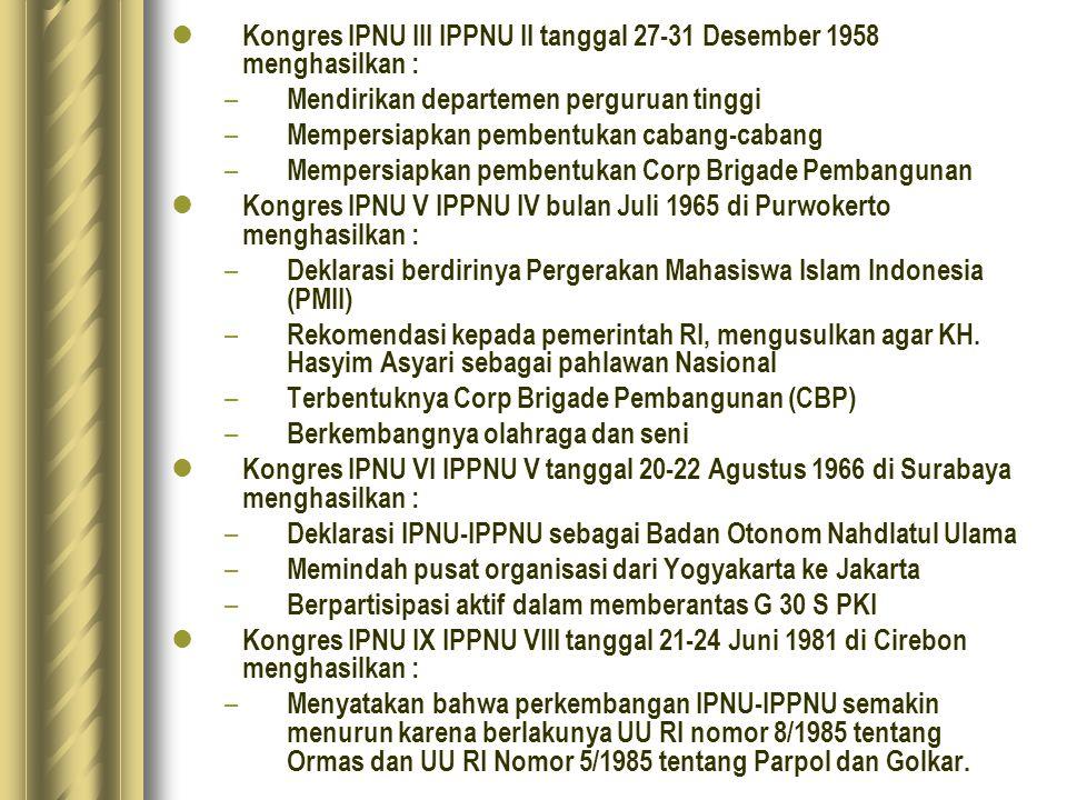Kongres IPNU III IPPNU II tanggal 27-31 Desember 1958 menghasilkan :