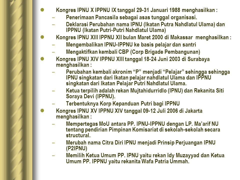 Kongres IPNU X IPPNU IX tanggal 29-31 Januari 1988 menghasilkan :