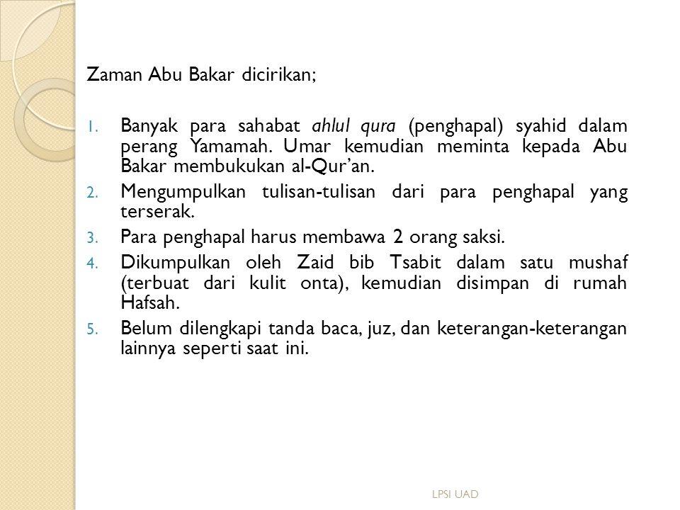 Zaman Abu Bakar dicirikan;