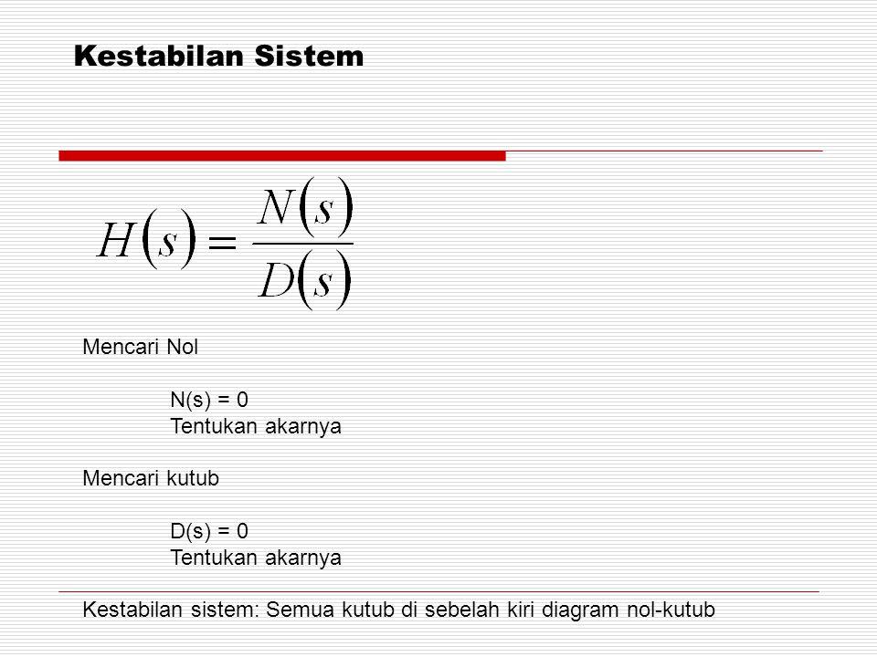 Kestabilan Sistem Mencari Nol N(s) = 0 Tentukan akarnya Mencari kutub