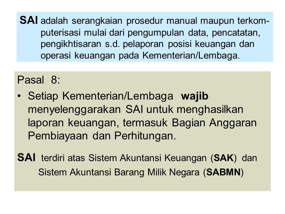 SAI terdiri atas Sistem Akuntansi Keuangan (SAK) dan