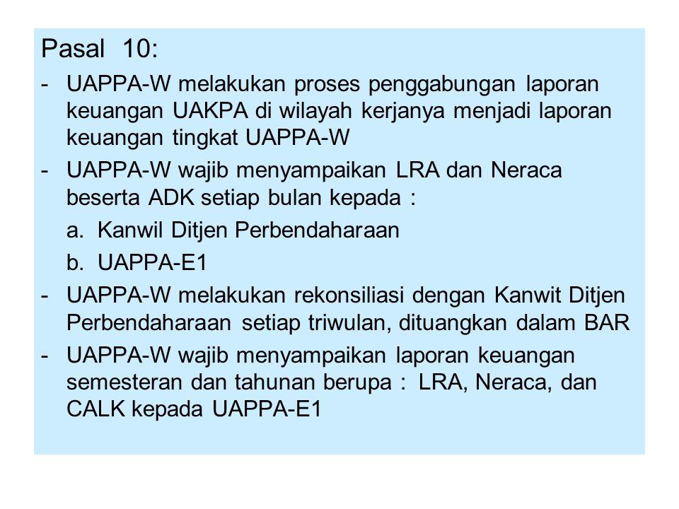 Pasal 10: - UAPPA-W melakukan proses penggabungan laporan keuangan UAKPA di wilayah kerjanya menjadi laporan keuangan tingkat UAPPA-W.