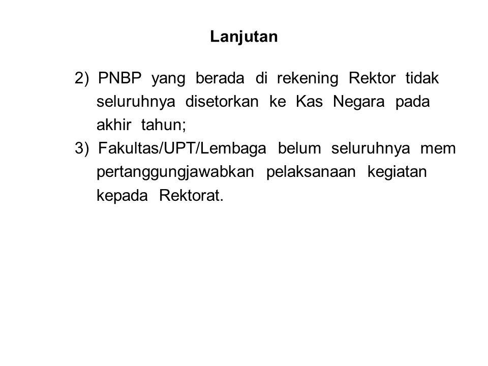 Lanjutan 2) PNBP yang berada di rekening Rektor tidak. seluruhnya disetorkan ke Kas Negara pada.