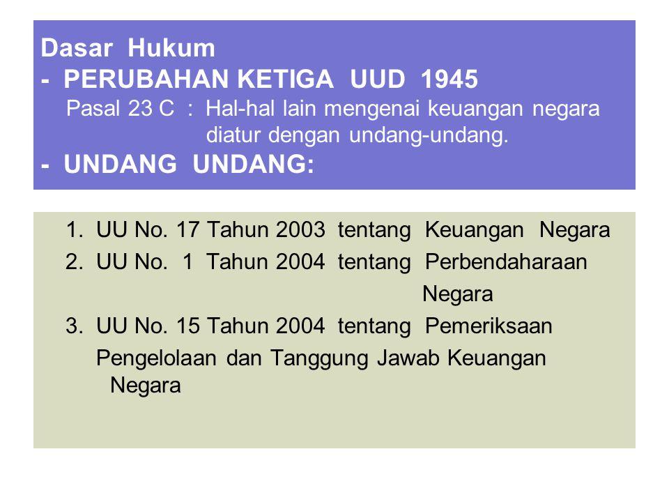 Dasar Hukum - PERUBAHAN KETIGA UUD 1945 Pasal 23 C : Hal-hal lain mengenai keuangan negara diatur dengan undang-undang. - UNDANG UNDANG: