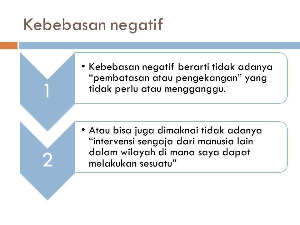Kebebasan negatif 1. Kebebasan negatif berarti tidak adanya pembatasan atau pengekangan yang tidak perlu atau mengganggu.