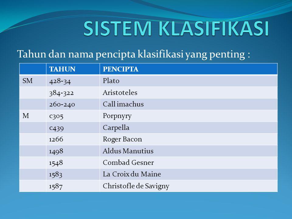 Tahun dan nama pencipta klasifikasi yang penting :
