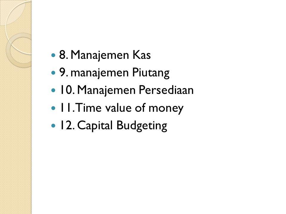 8. Manajemen Kas 9. manajemen Piutang. 10. Manajemen Persediaan.